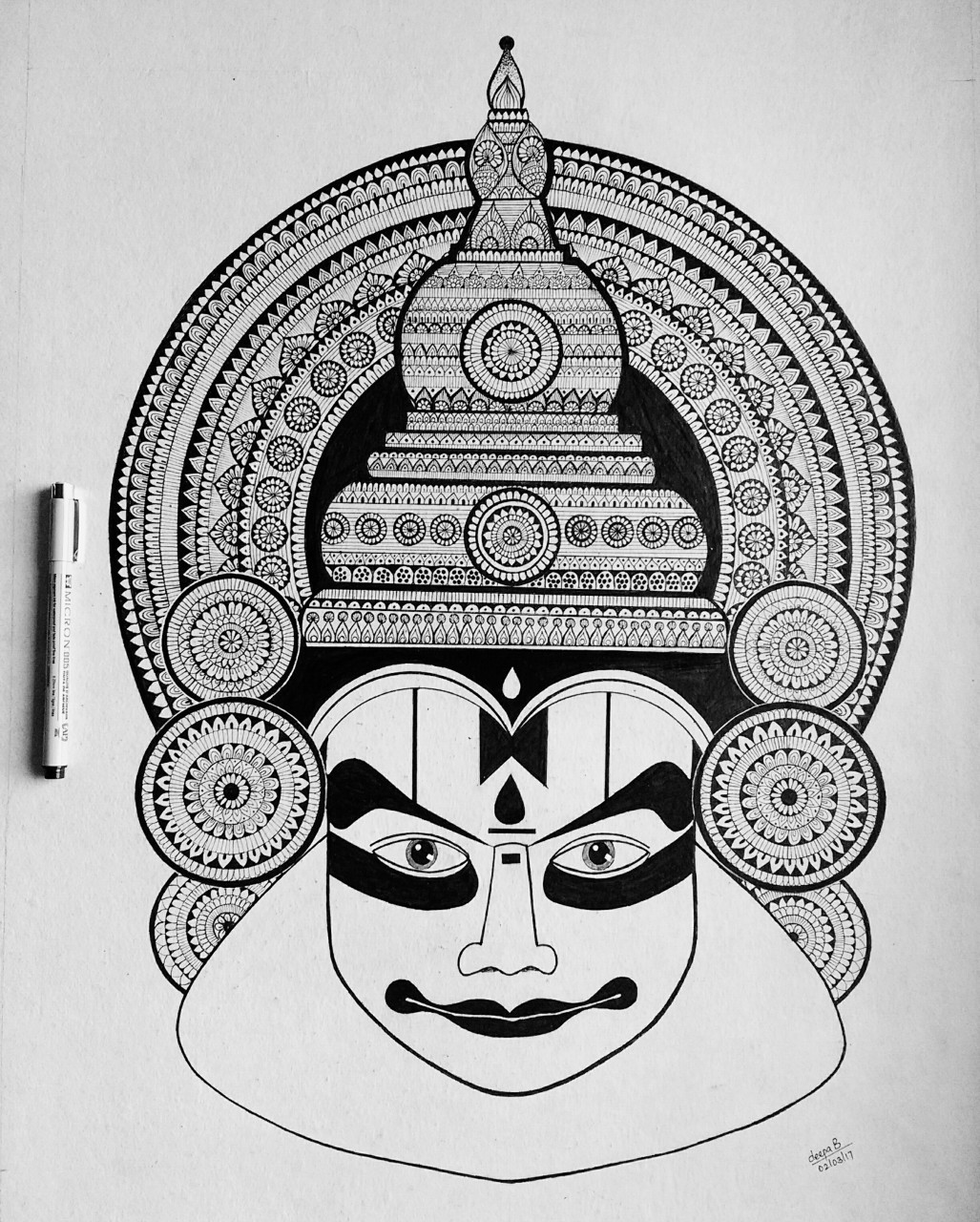 Yakshagana Face In Pencil Under Town