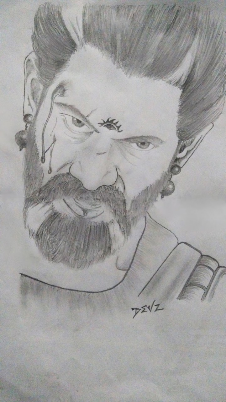 Pencil drawing rana daggubati from the movie bahubali